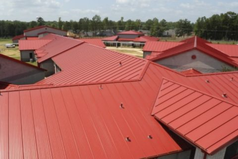 Red roofing at Reurink Roofing & Siding Sales